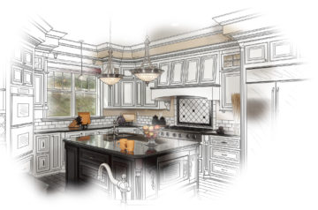 Beautiful Custom Kitchen Design Drawing and Photo Combination.
