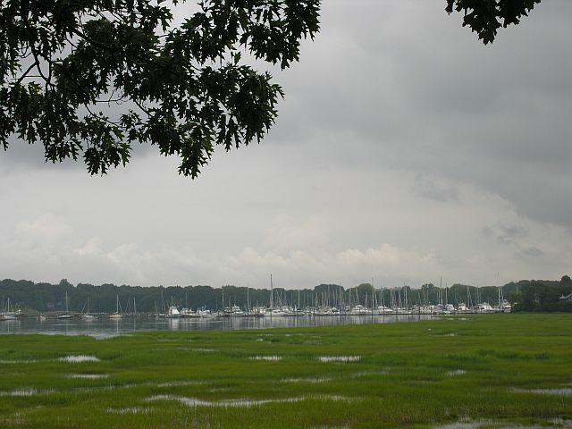 View of the Branford River, marsh and marina from Pawson Park Branford CT